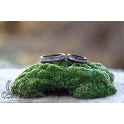 Fa gyűrű – Fekete dió ezüst berakással