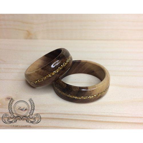 Fa gyűrű arany berakással