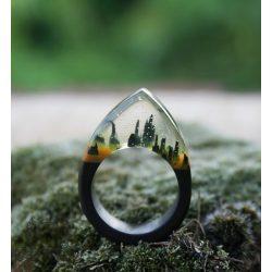 Fa és gyanta gyűrű #51