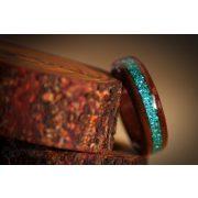 Fa gyűrű – Fekete dió türkiz berakással