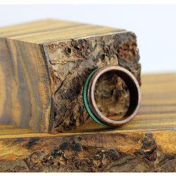 Fa gyűrű – Fekete dió neon zöld berakással